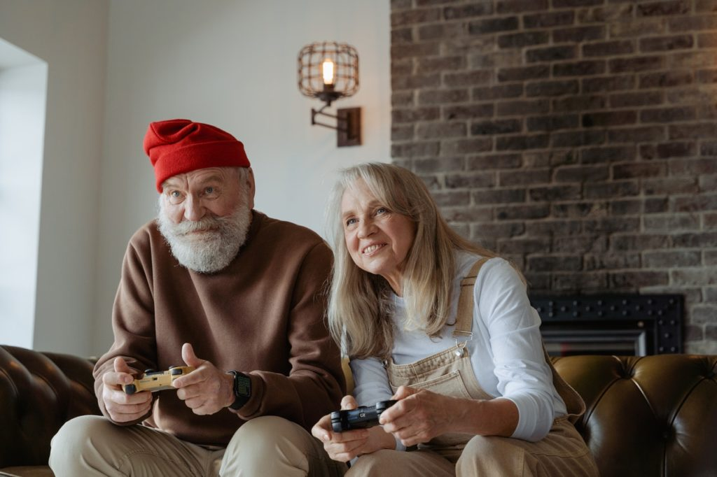 Older adults playing games